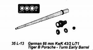 AB35L13 German 88mm KwK 43/2 L/71Tiger B Porsche Turm Early Barrel